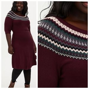 Torrid Fair Isle sweater dress purple size 10 / 0X